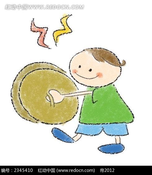 敲锣的小孩子卡通人物插画