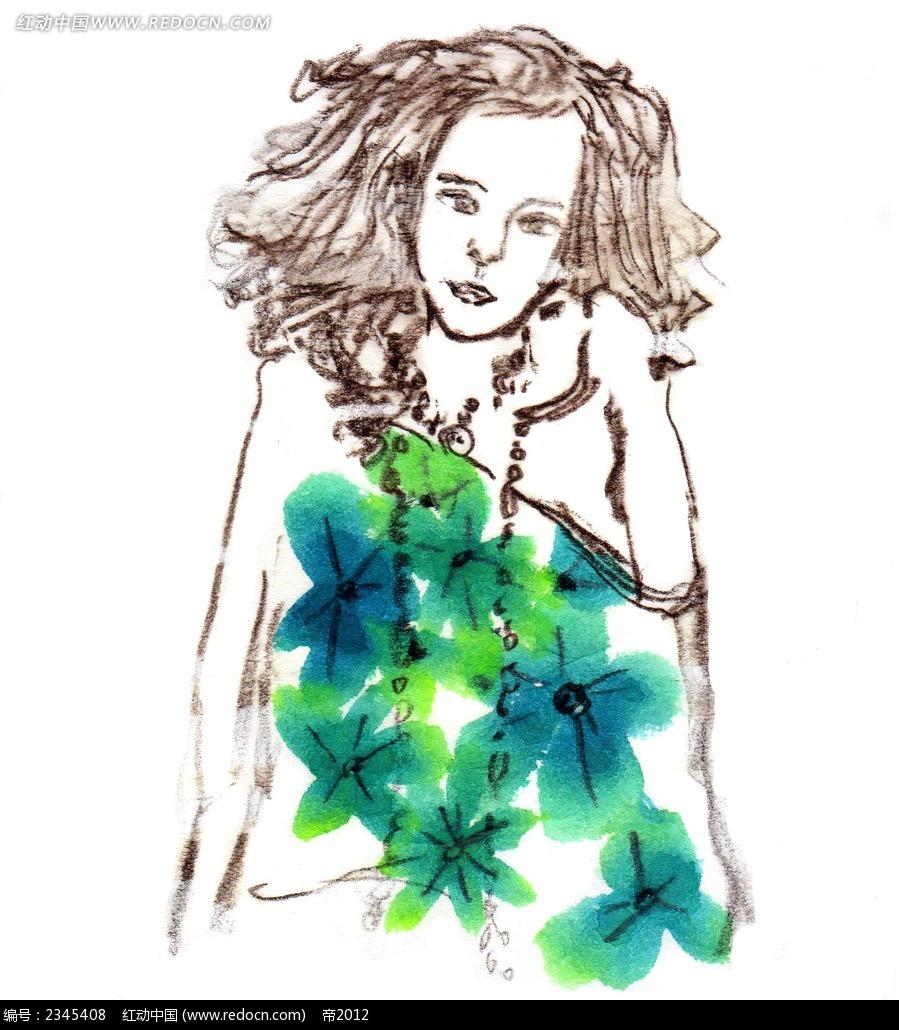 手绘水彩树叶女孩子卡通人物插画