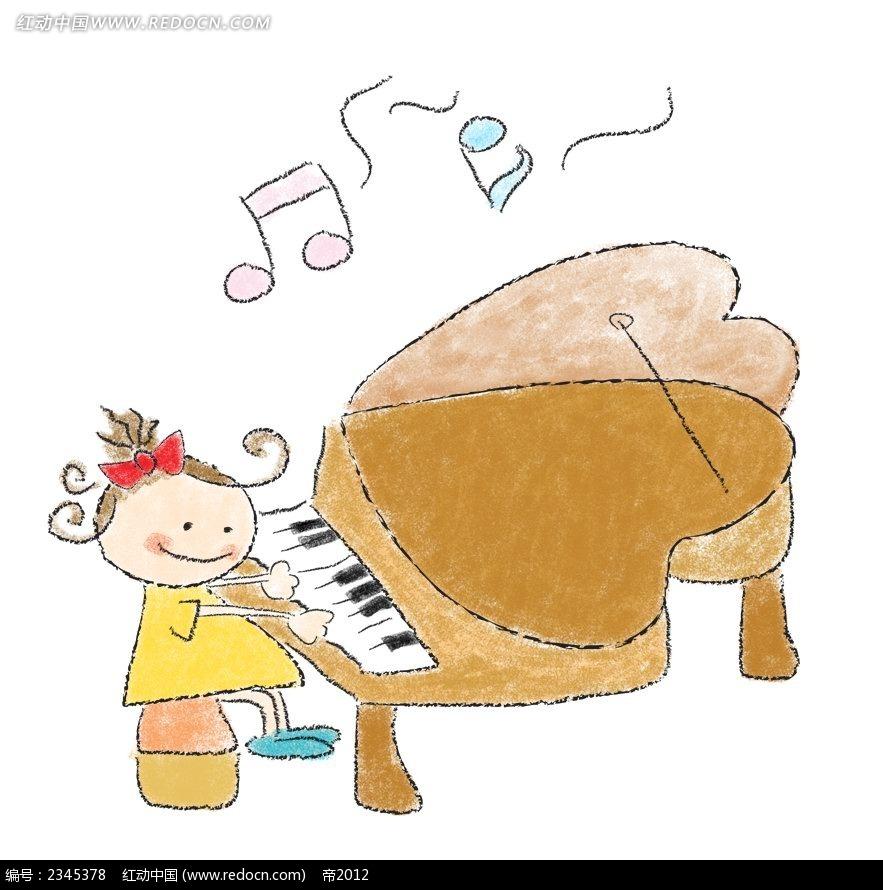 弹钢琴的小女孩简笔画韩国人物插画psd免费下载
