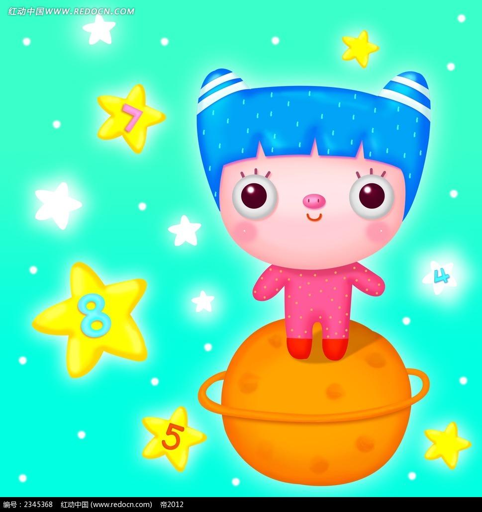 星球小女孩韩国人物插画