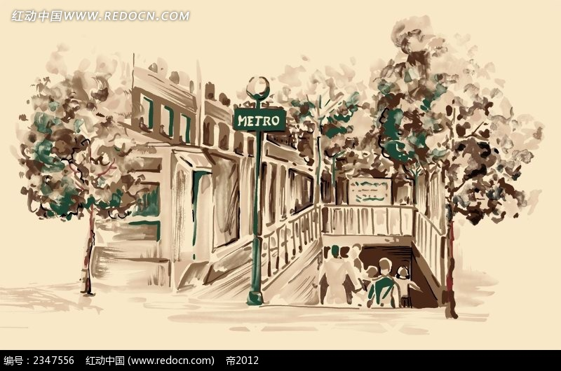 手绘地铁入口图