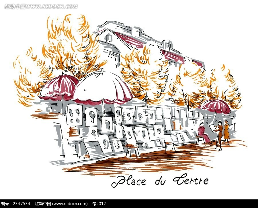 手绘古典街道时尚风景插画