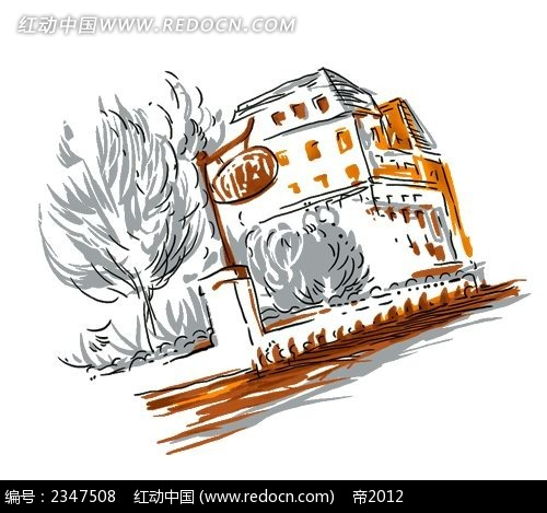 手绘欧洲小镇房屋时尚风景插画