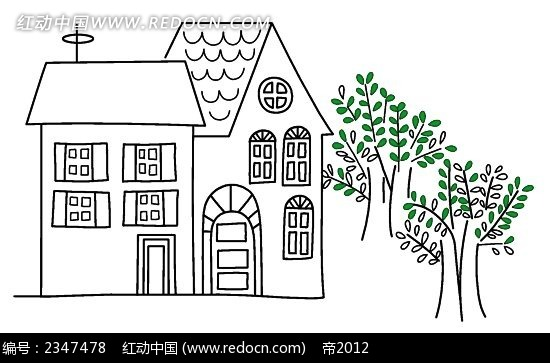 线描教堂小别墅时尚风景插画