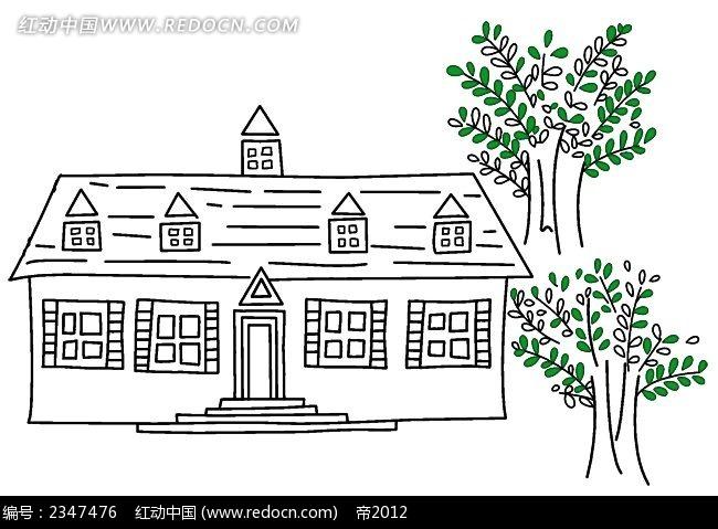 线描小别墅时尚风景插画