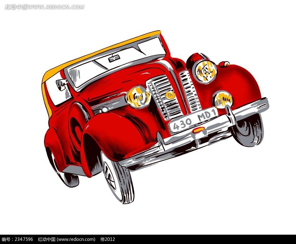 红色复古汽车韩国物品插画