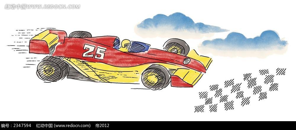手绘f4赛车韩国物品插画