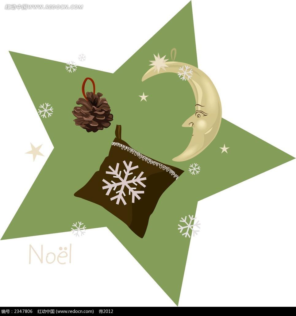 星星月亮小松鼠插画图片