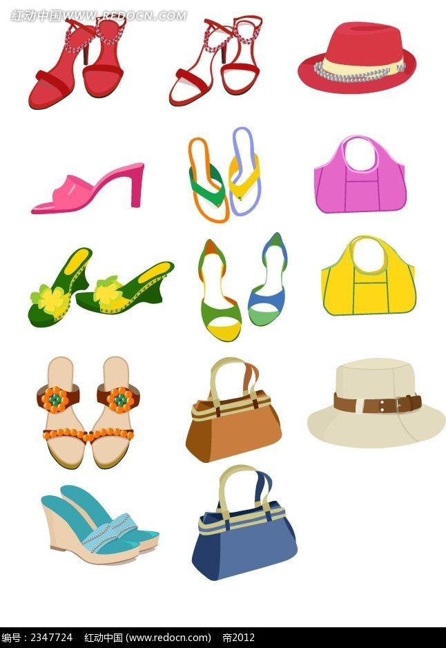 彩色高跟鞋和彩色帽子插画