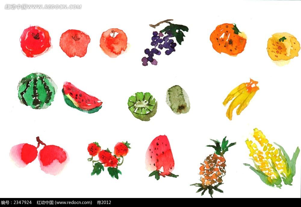 水彩水果手绘漫画