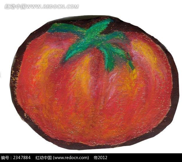 彩色手绘西红柿