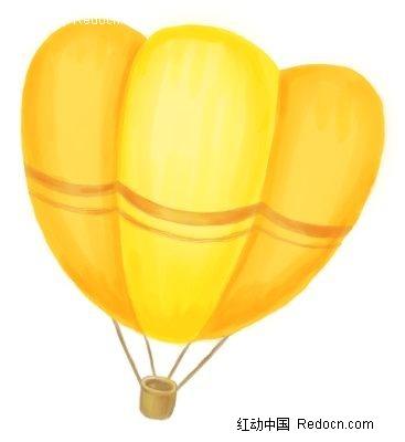 黄色卡通热气球手绘漫画