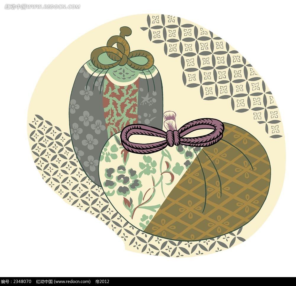 古代花纹小包袱物品小插画图片