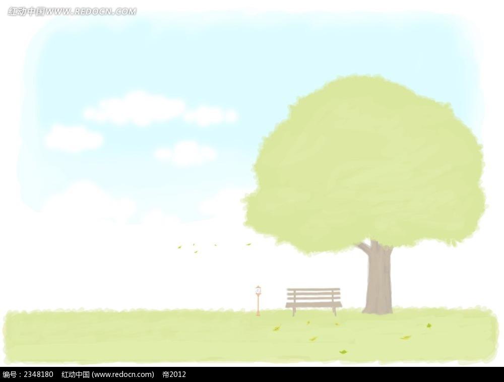 大树与长椅子手绘水彩画