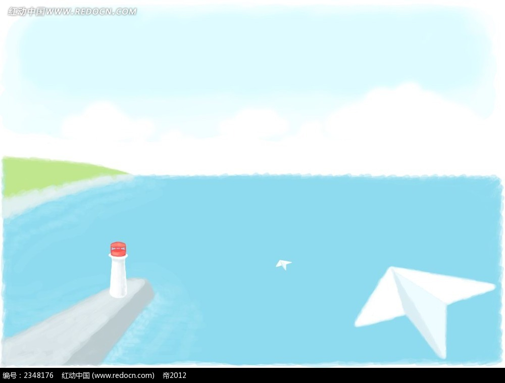 大海中的灯塔手绘水彩画