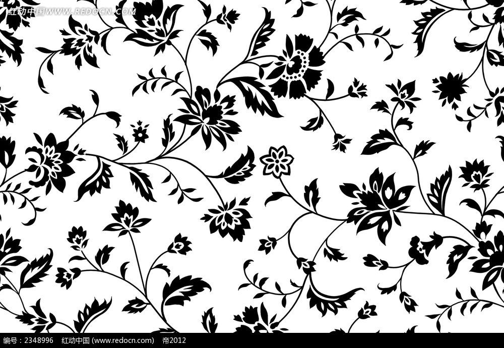 免费素材 psd素材 psd花纹边框 底纹背景 黑白花朵平铺psd素材