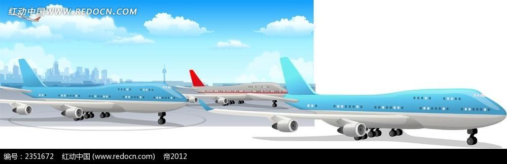 小清新风格飞机场卡通风景插画