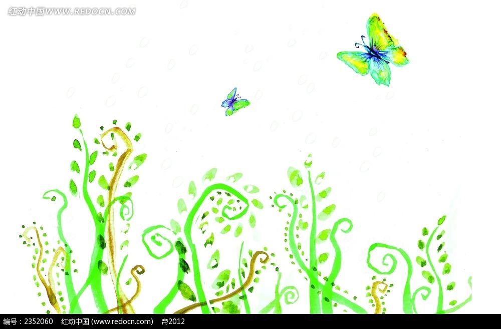 手绘蝴蝶与卷草花纹图案图片