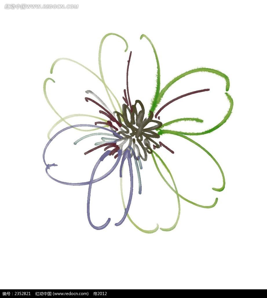 水彩线条花朵韩国插画