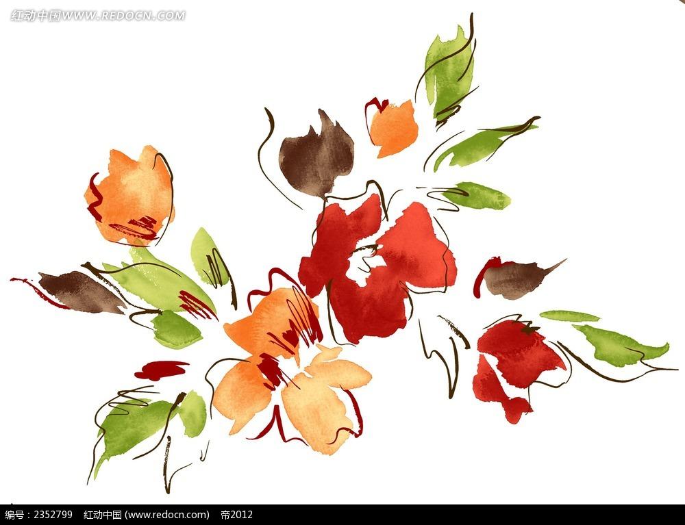 随意花朵手绘水彩插图psd素材免费下载(编号2352799)