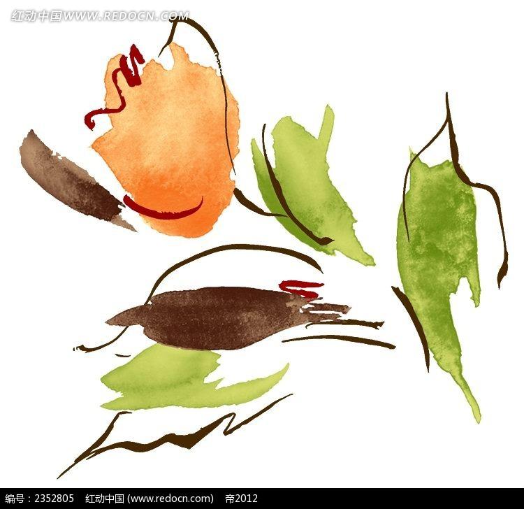 一支橘色花朵手绘水彩插图