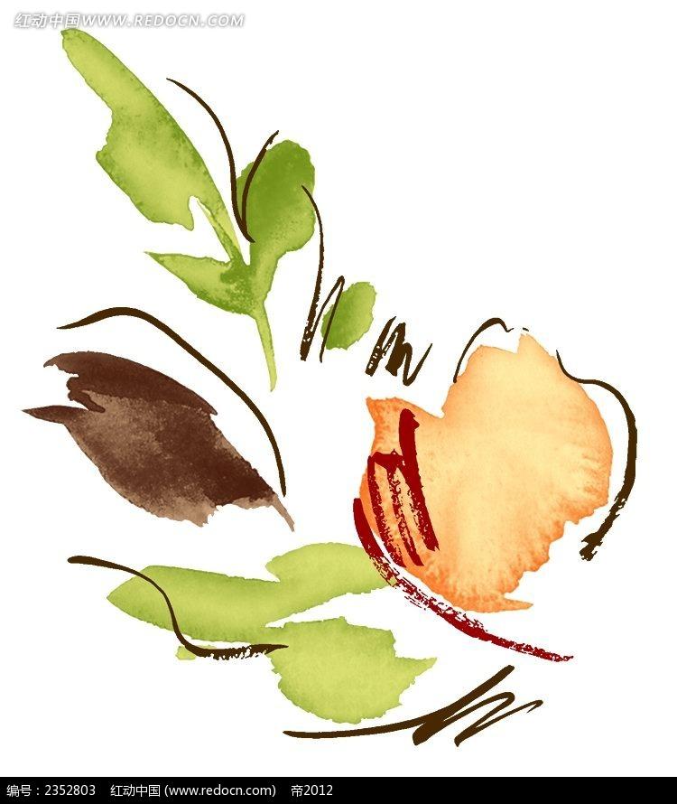 一朵橘色花朵手绘水彩插图
