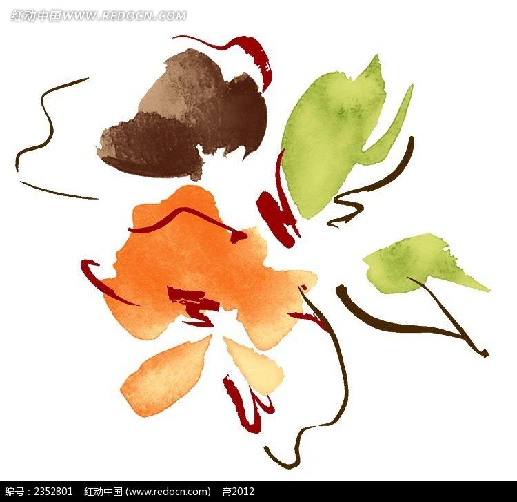 随意橘色花朵手绘水彩插图psd免费下载