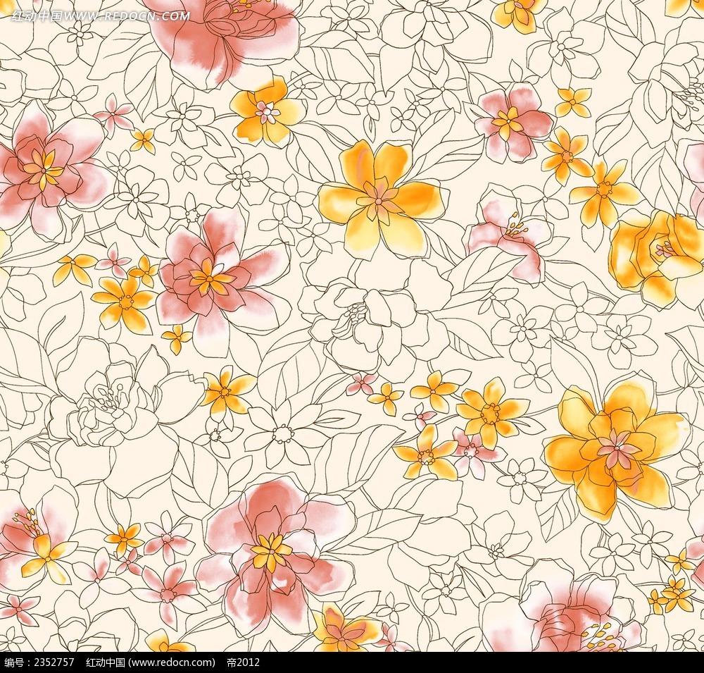 线描花瓣手绘水彩漫画