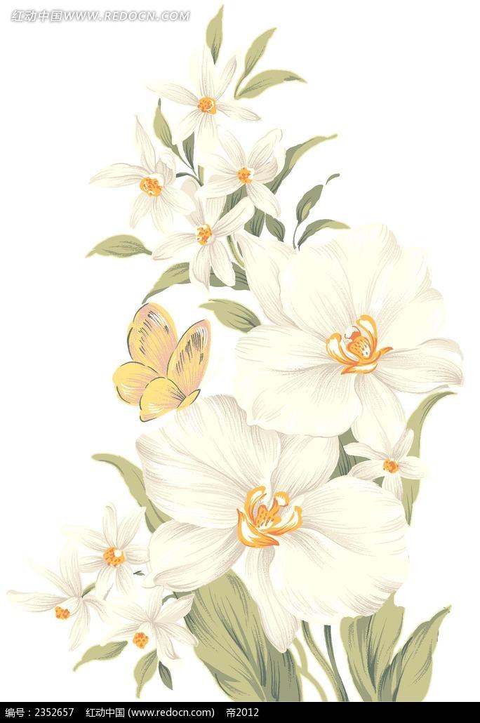 白色手绘花朵与蝴蝶
