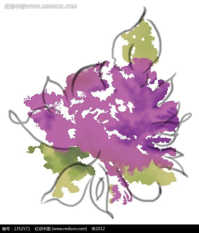 紫色抽象花朵手绘水彩插画
