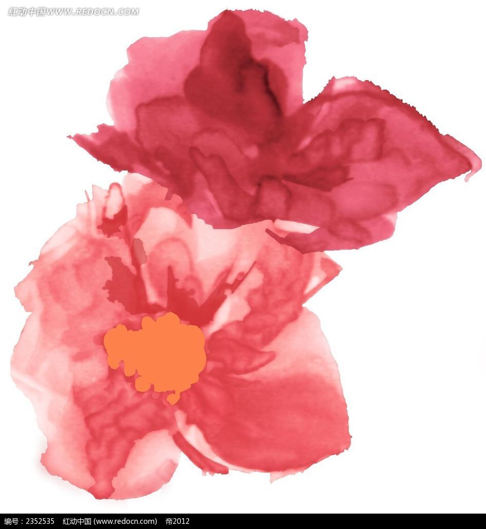 抽象花朵手绘水彩插画