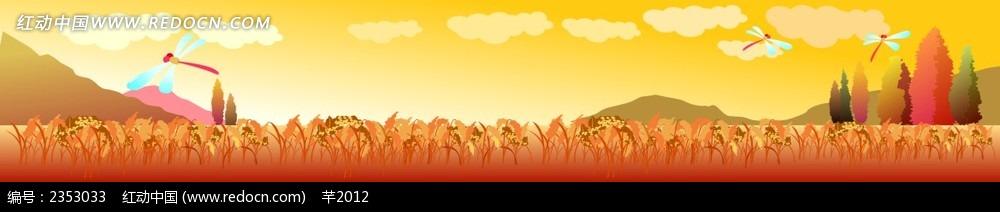 免费素材 矢量素材 广告设计矢量模板 门头招牌 乡村麦田蜻蜓背景bann