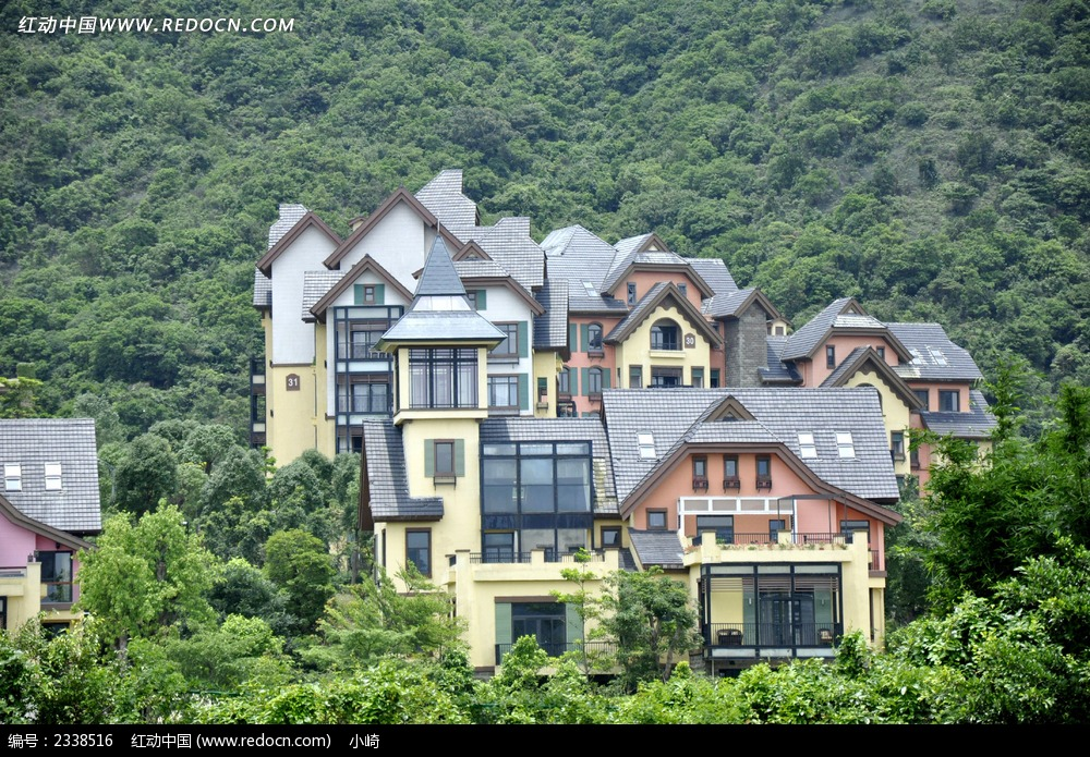 山中颜色外墙别墅别墅搭配效果图图片