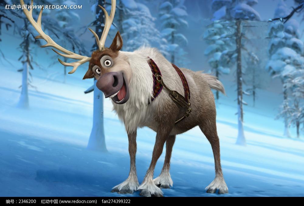 免费素材 图片素材 漫画插画 人物卡通 冰雪大冒险海报人物-麋鹿