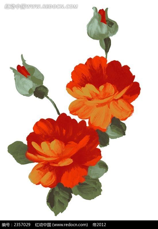 红色山茶花彩色线描装饰画