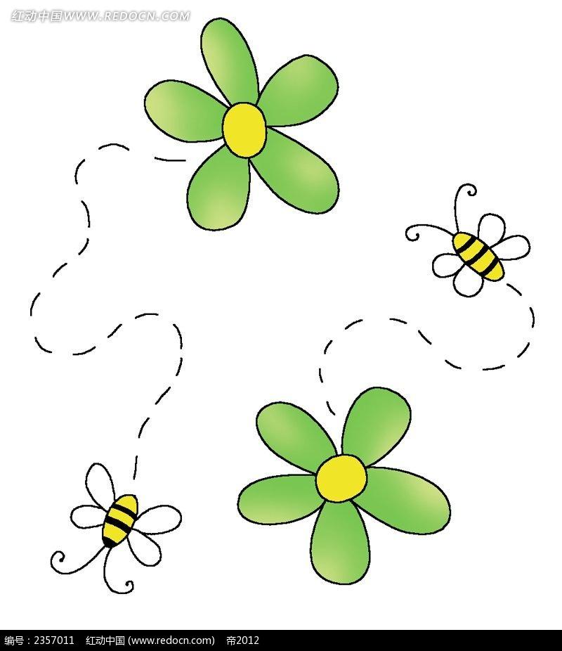 蜜蜂和花彩色线描装饰画