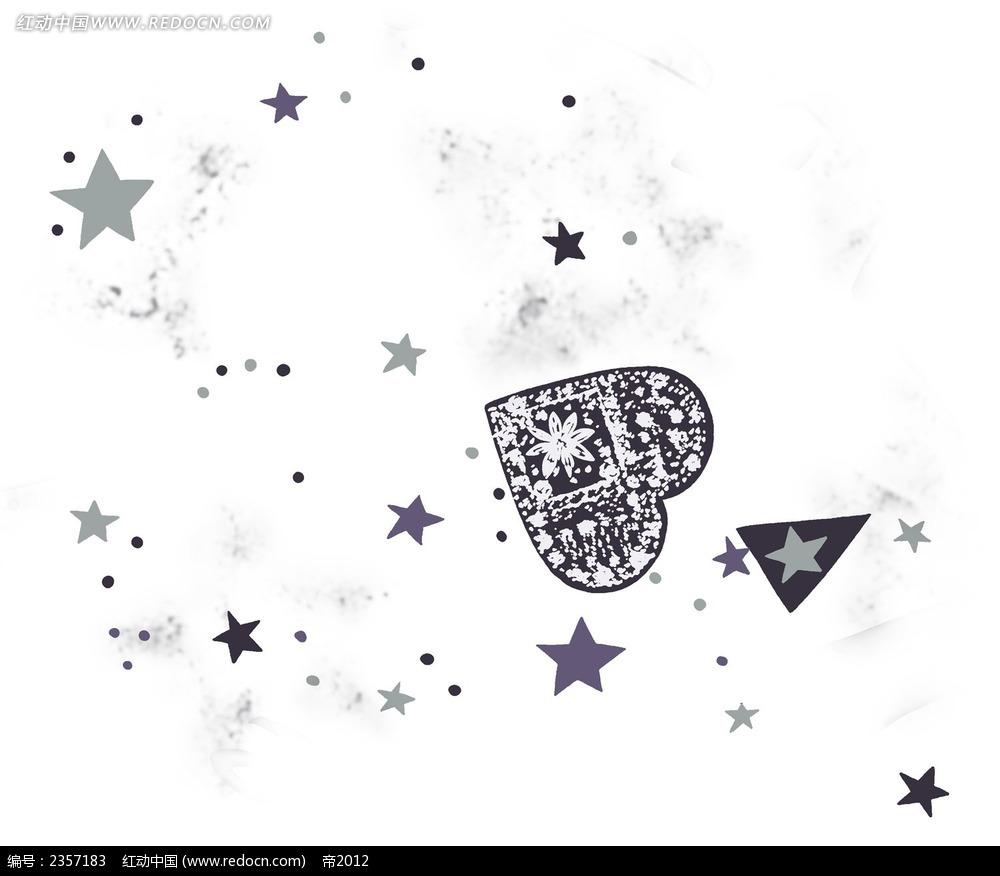 黑白爱心星星psd素材