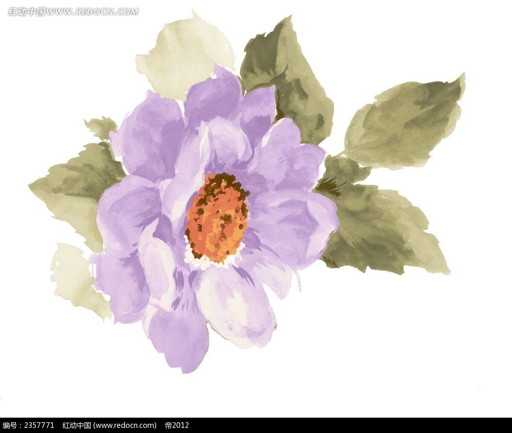 手绘粉紫色花朵psd素材