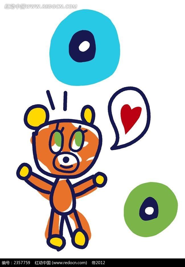 可爱小熊儿童涂鸦简笔画PSD素材免费下载 编号2357759 红动网