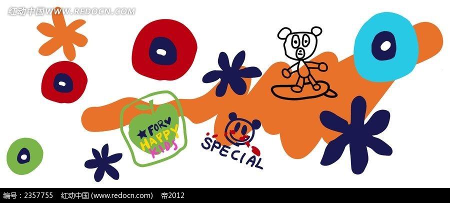 单随笔儿童涂鸦简笔画PSD免费下载 花纹花边素材