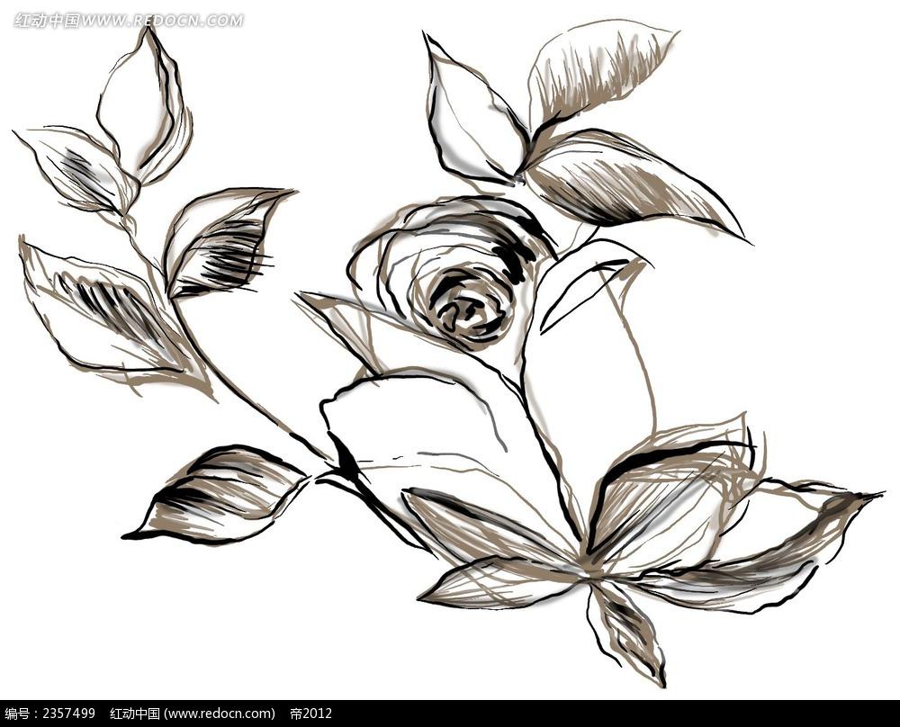 手绘线性玫瑰花