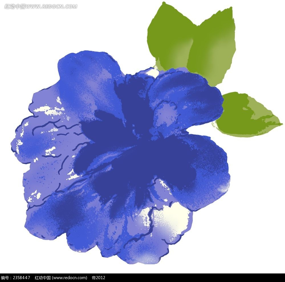 手绘蓝色调抽象花