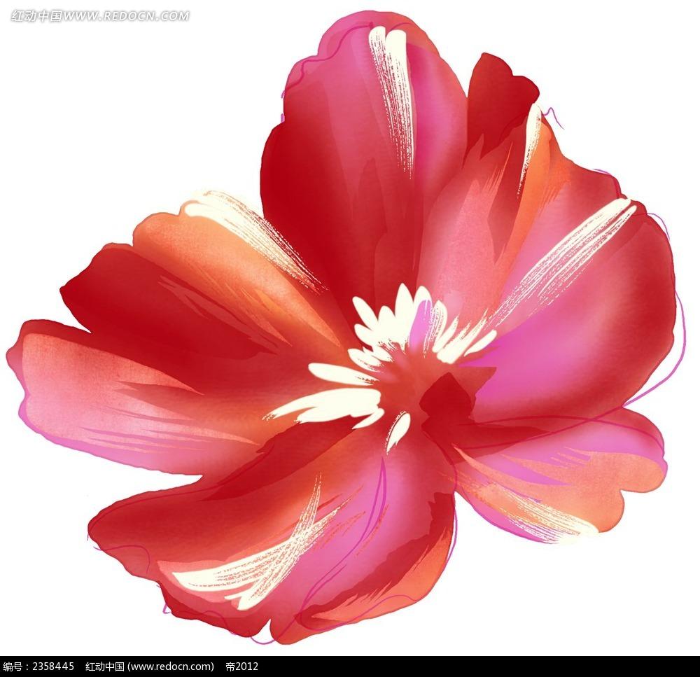 手绘红色调花朵