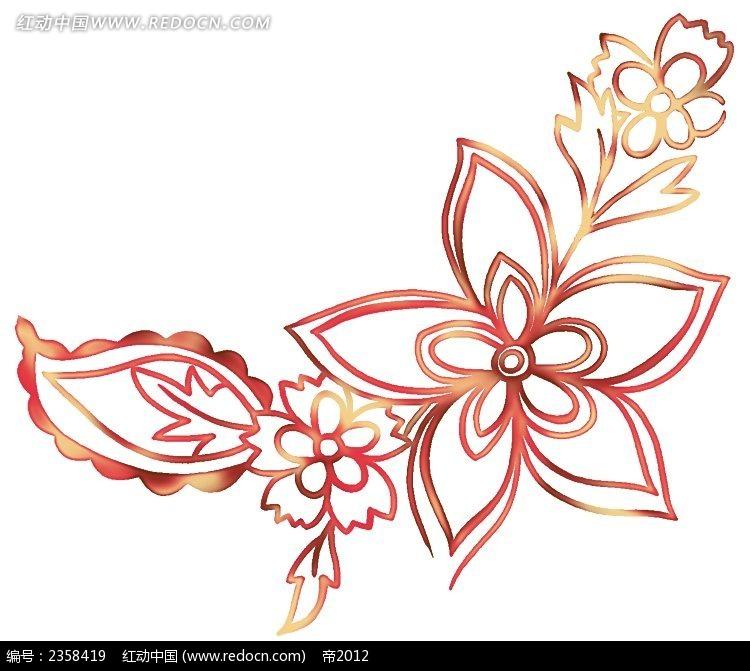 五片花瓣花朵纹饰素材PSD免费下载 编号2358419 红动网