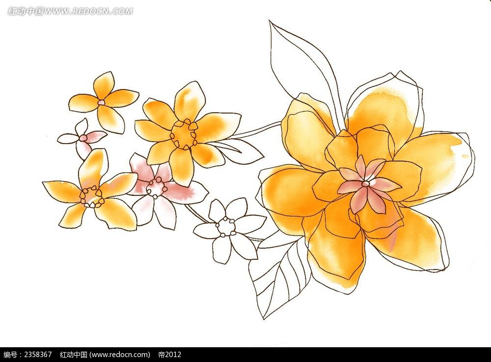 涂鸦手绘黑白线性花朵psd素材