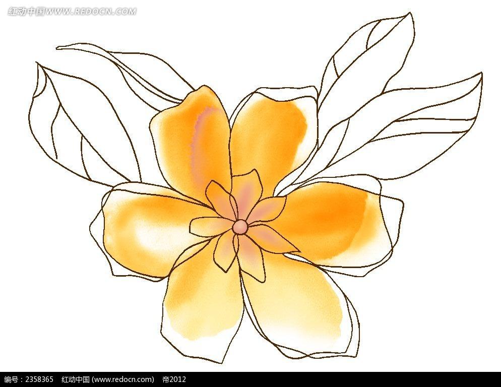 手绘线性六瓣花