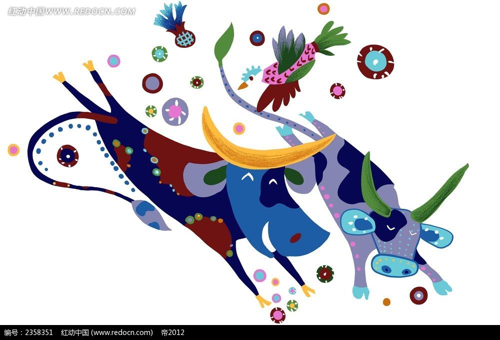 两只小牛可爱手绘风格插图