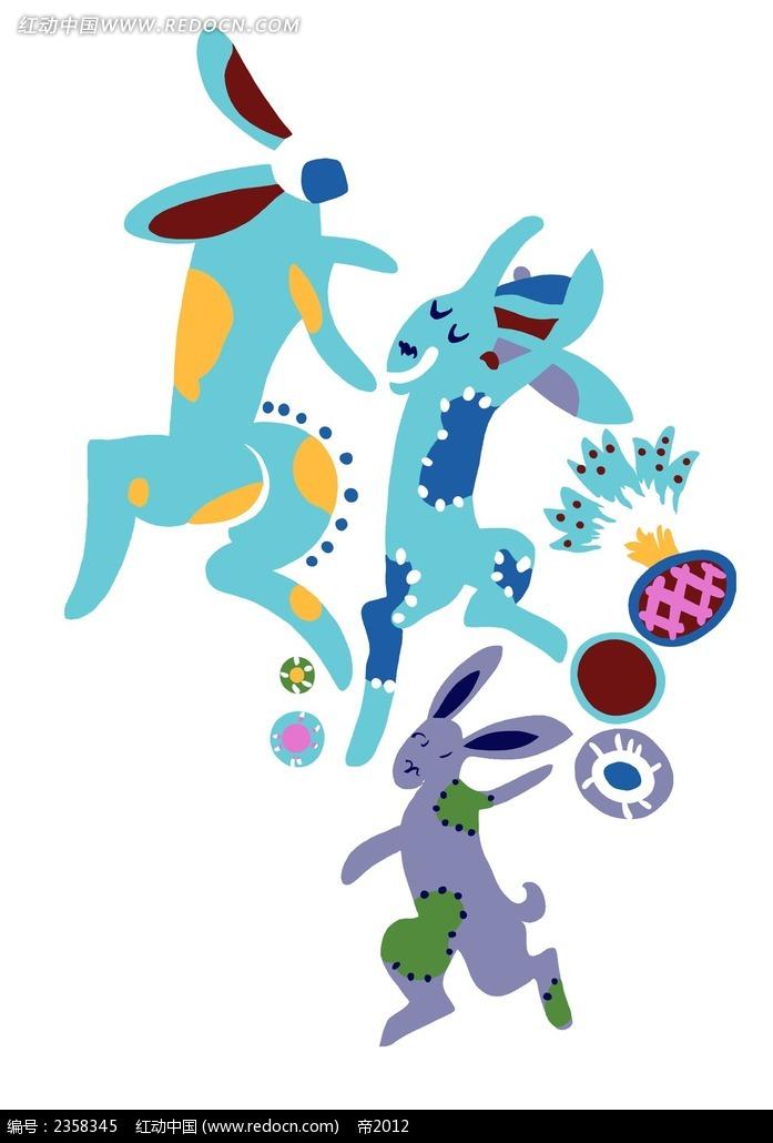 蓝色兔子可爱手绘风格插图