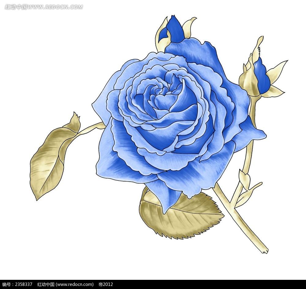 手绘蓝色玫瑰psd免费下载