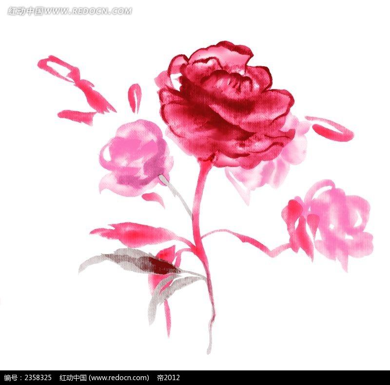 手绘红色抽象花